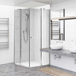 SAGI מקלחון פינתי קבוע ודלת לכל דופן ניקל