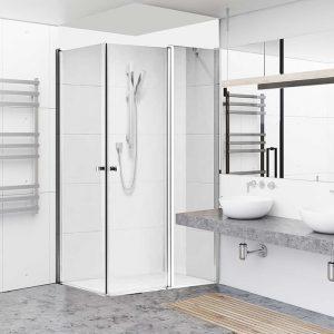 ODED מקלחון פינתי קבוע ודלת + דלת ניקל