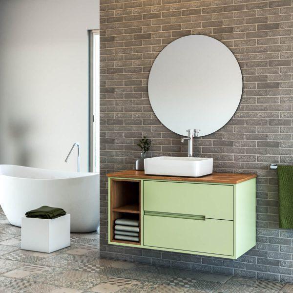 BARAK ארון אמבטיה סנדוויץ תלוי עם תאים פתוחים ומשטח בוצ'ר