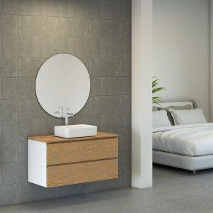 NADAV ארון אמבטיה סנדוויץ תלוי 2 מגירות עם משטח בוצ'ר