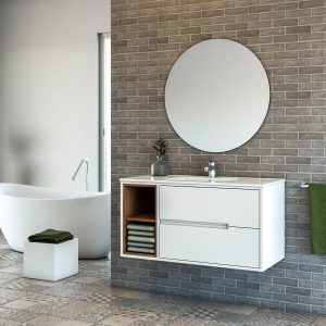 ALON ארון אמבטיה סנדוויץ 2 מגירות תלוי עם תאים פתוחים