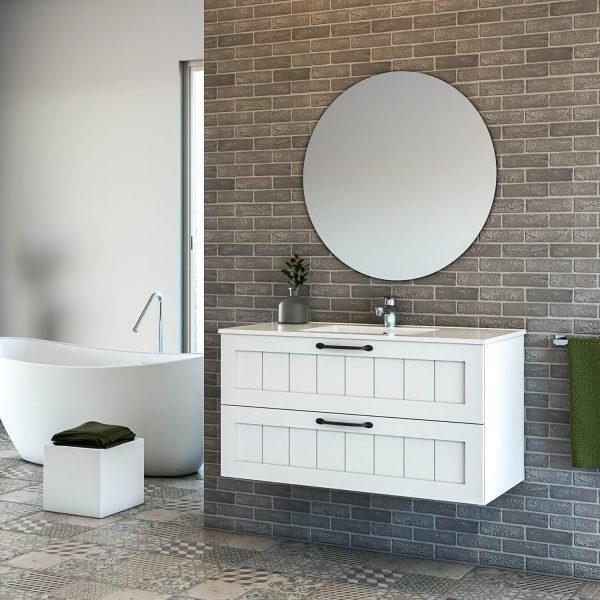 LIOR ארון אמבטיה תלוי 2 מגירות כפרי עם כיור חרס אינטגרלי