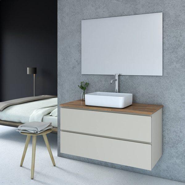 LIDOR ארון אמבטיה סנדוויץ תלוי בצביעת אפוקסי עם משטח בוצ'ר