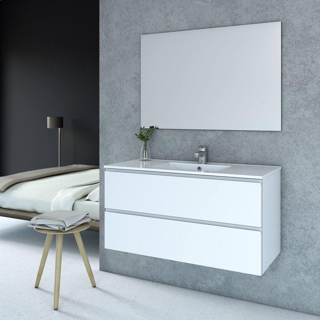 LISA ארון אמבטיה סנדוויץ תלוי עם כיור חרס אינטגרלי