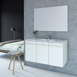 ROMI ארון אמבטיה סנדוויץ תלוי עם כיור חרס אינטגרלי