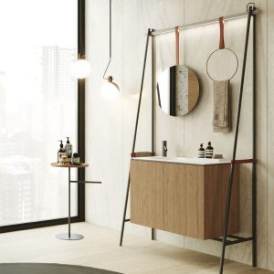 DAVE ארון אמבטיה סנדוויץ 2 דלתות עם קונסטרוקצית מתכת וכיור חרס אינטגרלי