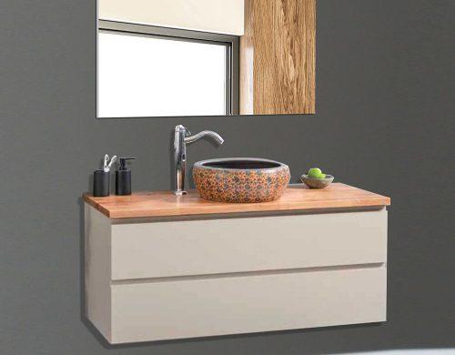 EREL ארון אמבטיה סנדוויץ תלוי בצביעת אפוקסי עם משטח בוצ'ר